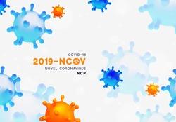 Novel Coronavirus (2019-nCoV). Virus Covid 19-NCP. Coronavirus nCoV denoted is single-stranded RNA virus. Background with realistic 3d blue and orange viral cells. danger symbol vector illustration.