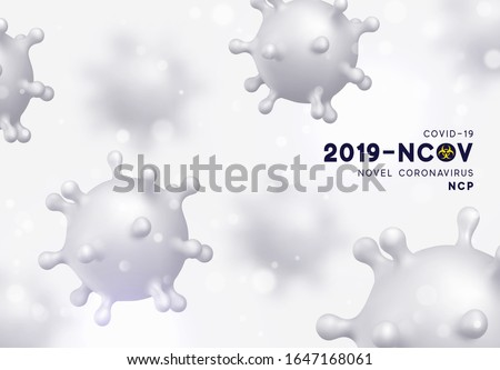 Novel Coronavirus (2019-nCoV). Virus Covid 19-NCP. Coronavirus nCoV denoted is single-stranded RNA virus. Background with realistic 3d white virus cells. vector illustration