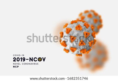 Novel Coronavirus (2019-nCoV). Virus Covid 19-NCP. Coronavirus nCoV denoted is single-stranded RNA virus. Background with realistic 3d white and orange viruses cells. SARS-CoV2. vector illustration.