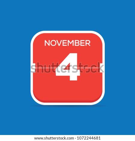 november 4 calendar flat icon