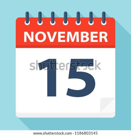 November 15 - Calendar Icon - Vector Illustration