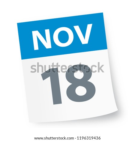 November 18 - Calendar Icon - Vector Illustration
