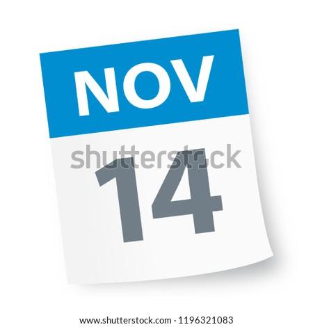 November 14 - Calendar Icon - Vector Illustration
