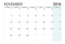November 2016 calendar (or desk planner)