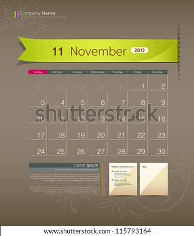 November 2013 calendar ribbon design, vector illustration