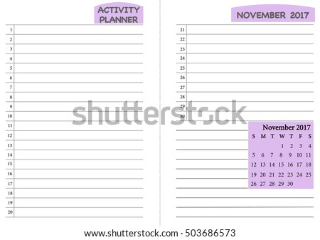 Vector Images Illustrations And Cliparts November 2017 Calendar