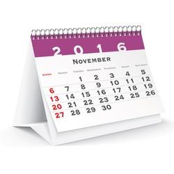 November 2016 desk calendar - vector illustration