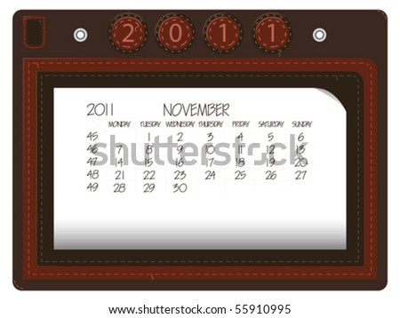 november 2011 leather calendar against white background, abstract vector art illustration