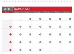 November 2016 planning calendar