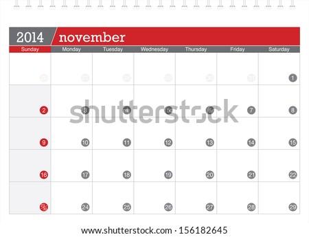 november 2014 planning calendar