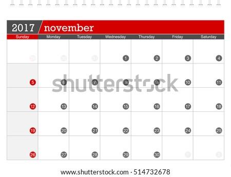 November 2017 planning calendar