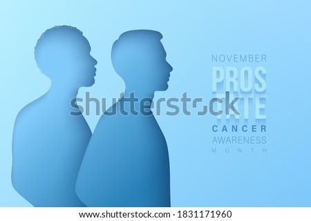 November prostate cancer awareness month. Paper cut black man and white man silhouettes on a blue backdrop. Men healthcare concept
