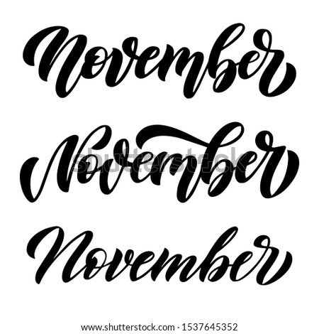 November, set of three minimalistic black and white vector scripts with decorative maple leaves elements. Hand drawn brush lettering for autumn events, posters, calendars, invitations, stickers, cards
