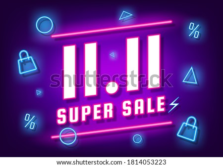 November 11 super sale shopping day neon sign background for poster, web banner, landing page, poster, flyer, promotional material.