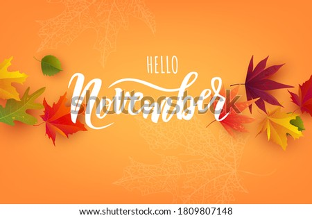 November text. Hand lettering typography with bright autumn leaves. Vector illustration as poster, postcard, greeting card, invitation template. Concept November advertising Foto stock ©