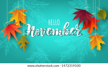 November word. Hand lettering typography with autumn leaves. Vector illustration as poster, postcard, greeting card, invitation template. Concept November advertising Foto stock ©