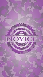 Novice pink and purple camo emblem. Vector Illustration. Detailed.