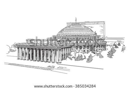 stock vector novosibirsk state academic opera and ballet theater russia engraving 385034284 - Каталог — Фотообои «Новосибирск»