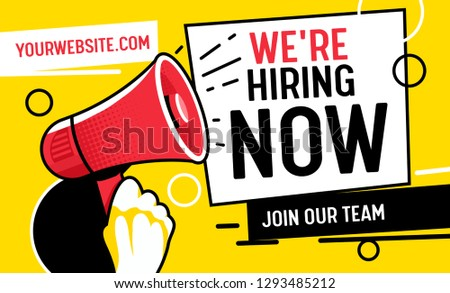 Now Hiring Vacancy Concept Poster Template. Outsource Team Hire Creative Employee. Career Promotion with Red Loudspeaker, Job Opportunity Ad Announcement Banner Pop Art Vector Illustration
