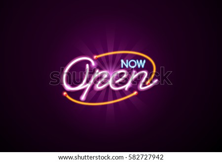 now open neon sign light glow mesh object vector but easy to change color