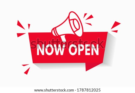 Now Open Red Banner With Megaphone sign for notification tag vector background. Poster of grand opening for business advertising. Website store notice badge design concept of event announcement. V1 Stock photo ©