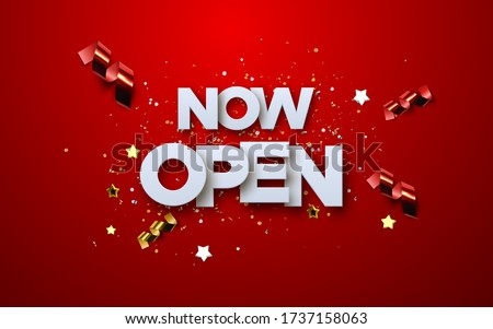 Now Open white sign on red background with glittering confetti and streamers. Vector 3d illustration. White paper letters label. Open business concept. Access tag. Store badge