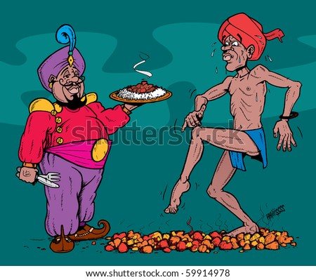 Now you think that's hot, try this curry my friend. Vector illustration of a man walking on hot coals, next to a waiter holding an even hotter curry
