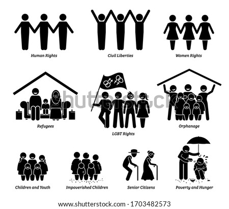 NPO nonprofit organization foundation welfare vector set. Non profit group of human rights, civil liberties, women rights, refugees, LGBT, orphanage, children, senior citizens, and poverty hunger.