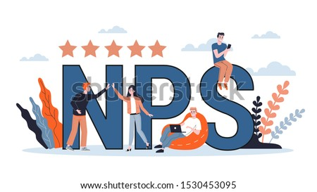 NPS or net promoter score. Idea of advertising and communication. Business strategy. Flat illustration