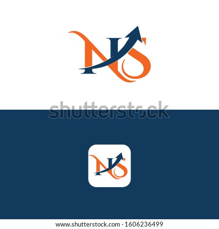 NS Letter with Arrow Logo Template vector Design Stock fotó ©