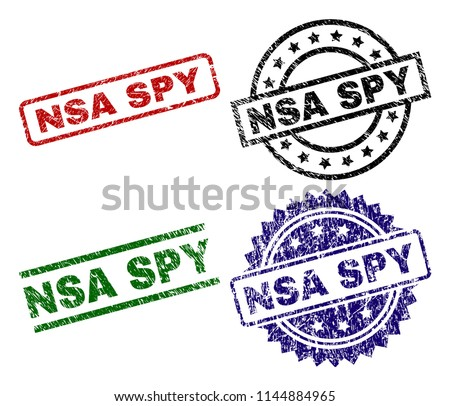 NSA SPY seal prints with corroded surface. Black, green,red,blue vector rubber prints of NSA SPY text with dust surface. Rubber seals with round, rectangle, medallion shapes.