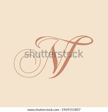 NT monogram logo.Calligraphic signature icon.Letter n and letter t intertwined.Lettering sign isolated on light background.Uppercase alphabet initials.Hand drawn, elegant script, wedding style.