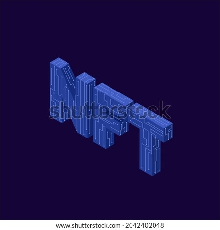 NTF concept. n\Non-fungible token with network vector on dark background. Isometric vector illustration Foto stock ©