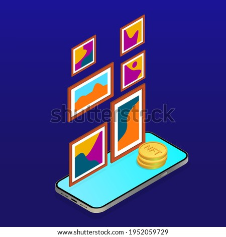 NTF. Non-fungible token. Crypto art. NFT art. Online gallery nft. Crypto art gallery. Investment in nft. Vector isometric illustration.
