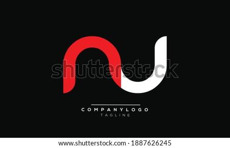 NU icon monogram letter text alphabet logo design Foto stock ©