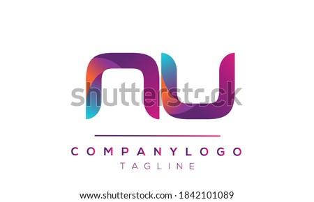 NU initials monogram letter text alphabet logo design Foto stock ©
