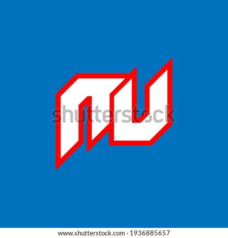 NU logo design, initial NU letter design with sci-fi style. NU logo for game, esport, Technology, Digital, Community or Business. N U sport modern Italic alphabet font. Typography urban style fonts. Foto stock ©