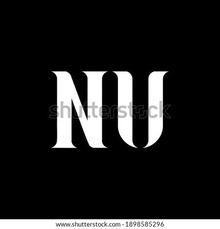 NU N U letter logo design. Initial letter NU uppercase monogram logo white color. NU logo, N U design. NU, N U Foto stock ©