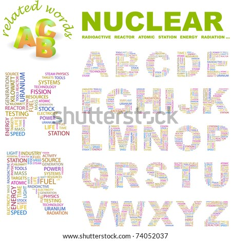 NUCLEAR. Alphabet. Illustration with different association terms.