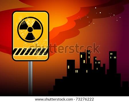 Nuclear danger warning background, vector illustration