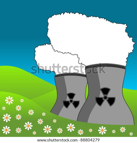 Nuclear energy power plant polluting the landscape