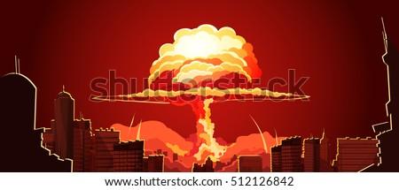 nuclear explosion bright orange