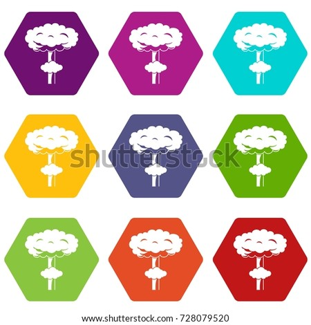 nuclear explosion icon set many