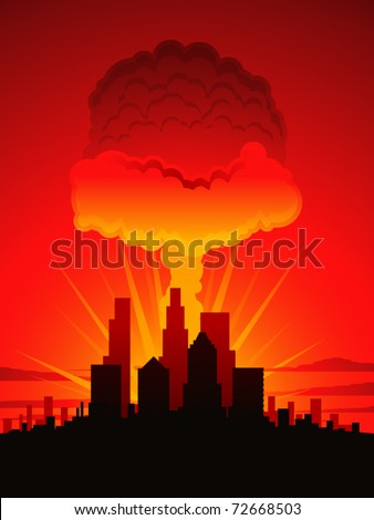 Nuclear explosion over a large American city