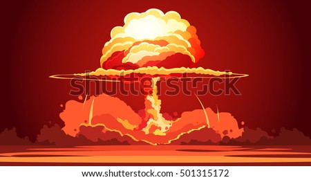 nuclear explosion rising orange