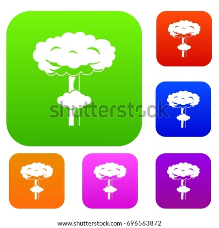 nuclear explosion set icon in
