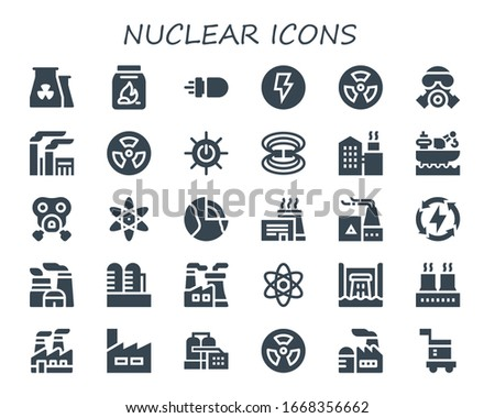 nuclear icon set. 30 filled nuclear icons.  Simple modern icons such as: Nuclear plant, Coal, Missile, Electricity, Radioactive, Gas mask, Factory, Solar energy, Magnetic field