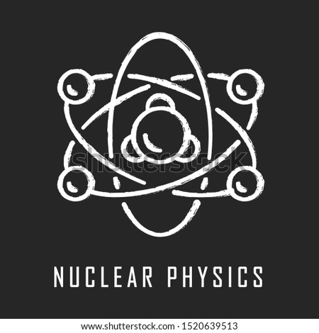Nuclear physics chalk icon. Atomic structure model. Electrons, neutrons and protons. Subatomic molecular particles. Atom core elements. Nuclear matter and power Isolated vector chalkboard illustration