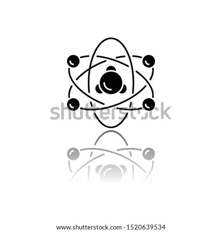Nuclear physics drop shadow black glyph icon. Atomic structure model. Electrons, neutrons and protons. Subatomic molecular particles. Atom core elements. Nuclear matter. Isolated vector illustration