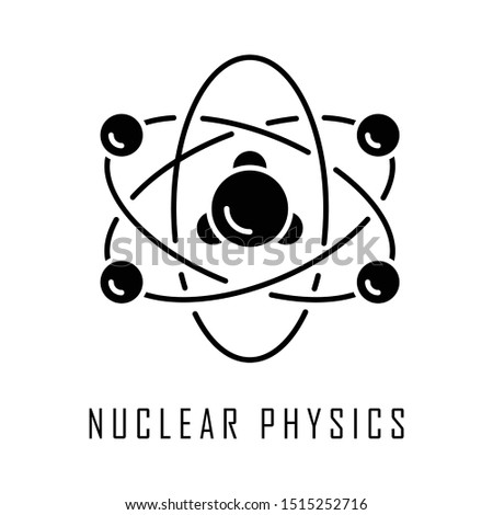 Nuclear physics glyph icon. Atomic structure model. Electrons, neutrons and protons. Subatomic molecular particles. Atom core elements. Silhouette symbol. Negative space. Vector isolated illustration